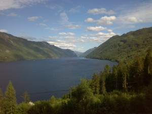Abfahrt Richtung Dalen - Blick auf Telemarkkanal