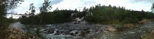 Wasserfall bei der Abfahrt nach Valle (Setesdal)