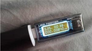 Messung des Ladevorganges bei parallel geschalteter 11W und 7W Solarzelle. Ergebnis: in 38min wurden 840mAh bei zirka 5Volt gewonnen.