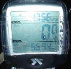 Leistung des Nabendynamos, wenn das Licht eingeschalten ist. Fahrradcomputer wurde nicht resettet, daher gilt eine Gesamtstrecke von 55.94 bei einer durchschnittsgeschwindigkeit 17.56km/h